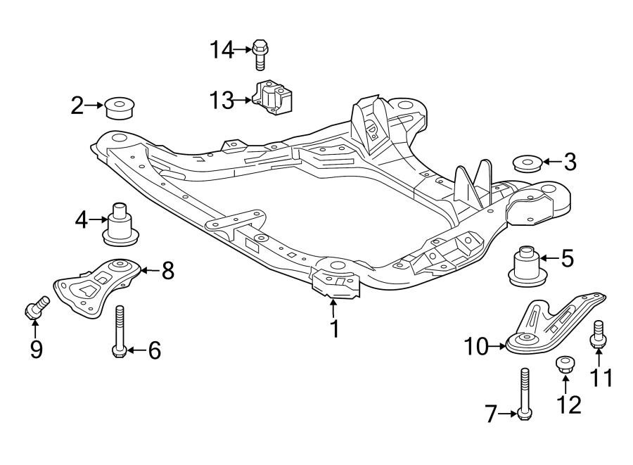2015 Toyota Highlander Engine Cradle Brace  Front