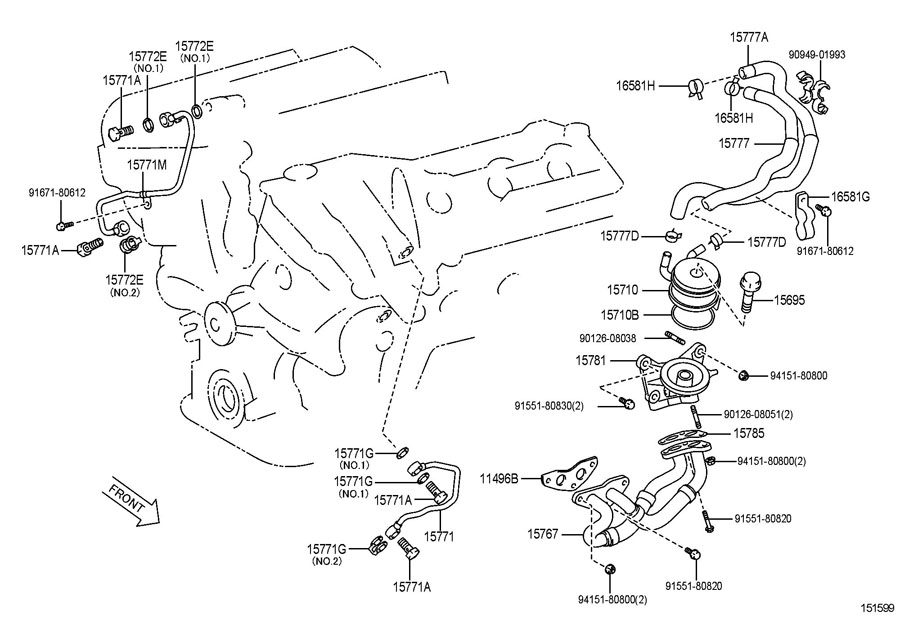 2006 TOYOTA AVALON Engine Oil Cooler Line (Upper ...