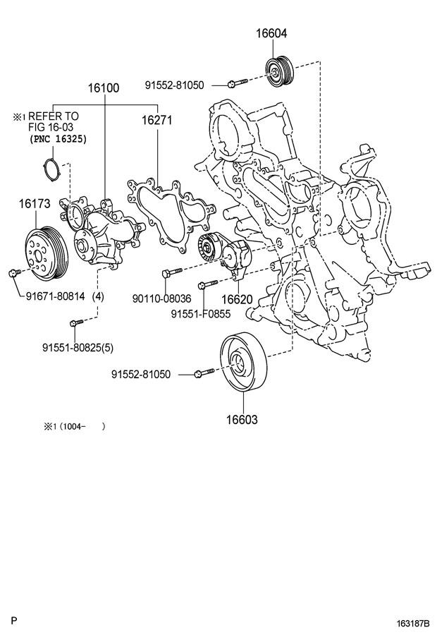 2003 Toyota 4runner Tensioner Assy  V-ribbed Belt  Vribbed  Vri  Pulleys