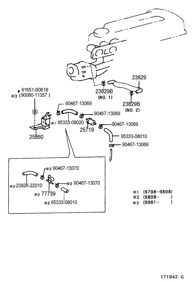 2000 Toyota Corolla Valve Assy  Vacuum Switching  No 1
