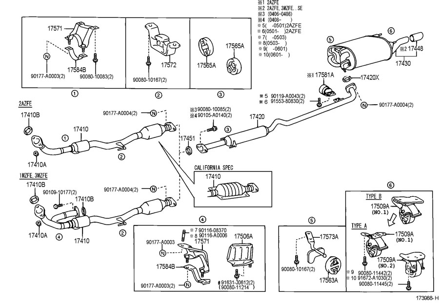 Diagram EXHAUST PIPE for your 1991 TOYOTA 4RUNNER TRUCK, STANDARD 3000CC EFI, MANUAL , 5-SPEED