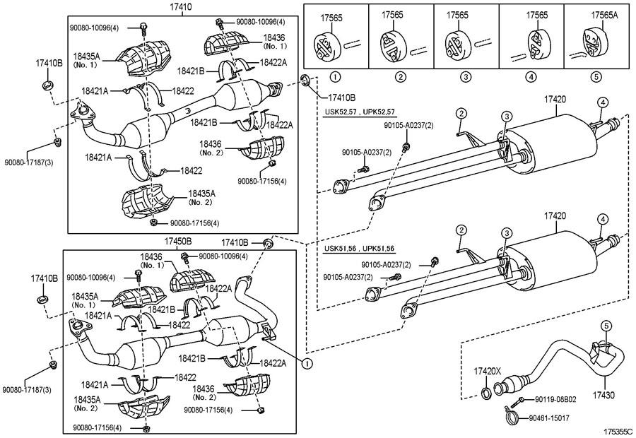 2008 Tundra Exhaust Diagram : toyota tundra nut exhaust pipe set stud bolt nut lock ~ A.2002-acura-tl-radio.info Haus und Dekorationen