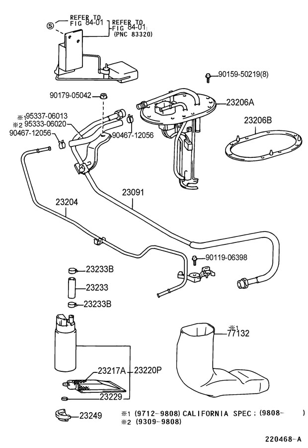 Diagram FUEL INJECTION SYSTEM for your 1998 TOYOTA CELICA LIFTBACK, GT 2200CC 16-VALVE DOHC EFI, AUTOMATIC ,4-SPEED
