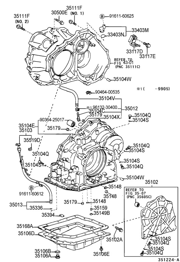 Diagram TRANSMISSION CASE & OIL PAN (ATM) for your 1991 TOYOTA 4RUNNER TRUCK, STANDARD 3000CC EFI, MANUAL , 5-SPEED