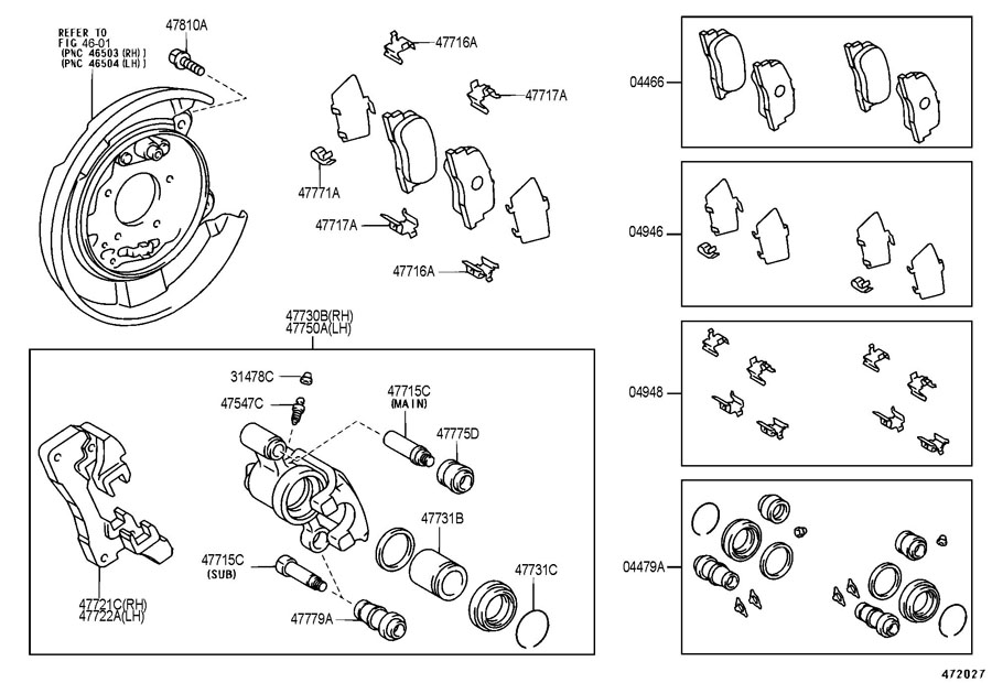 scion tc pin  cylinder slide for rear disc brake   main  main pin side