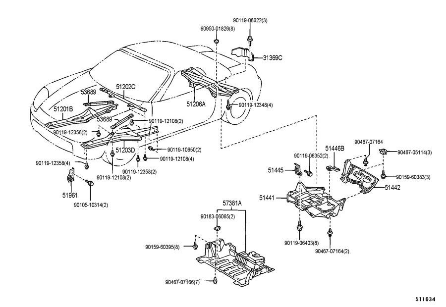 Toyota Mr2 Spyder Cover  Engine Under  No 2  Cover Sub