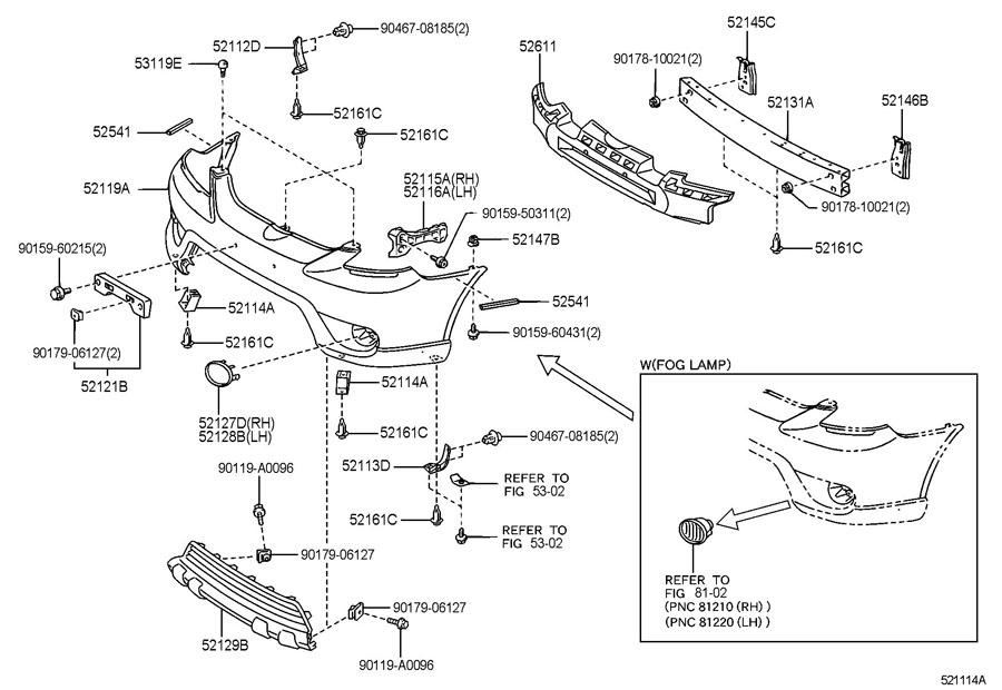 2004 toyota matrix bumper diagram