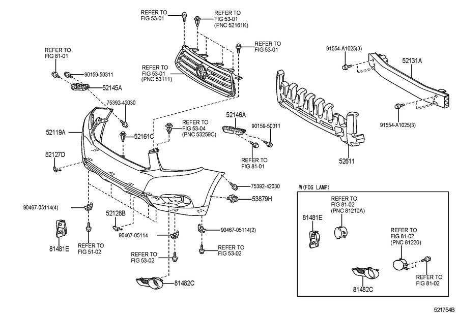 2008 toyota highlander bumper parts