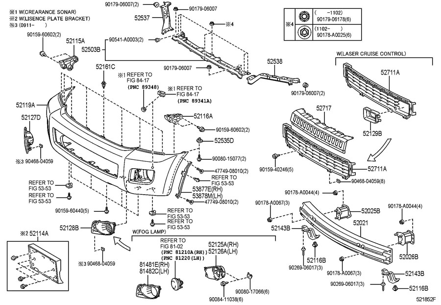 FRONT BUMPER & BUMPER STAY Diagram