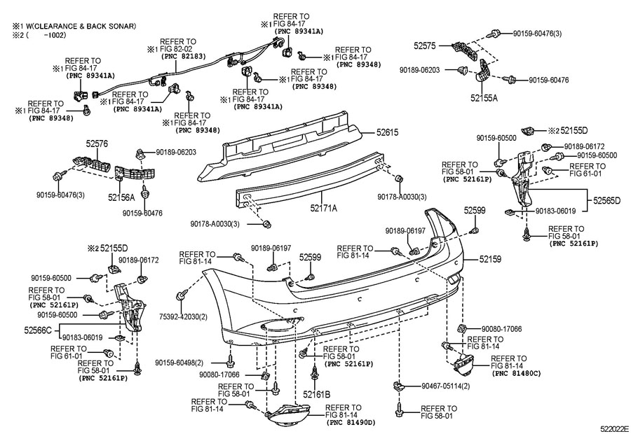 REAR BUMPER & BUMPER STAY Diagram