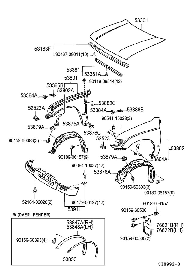 HOOD & FRONT FENDER Diagram