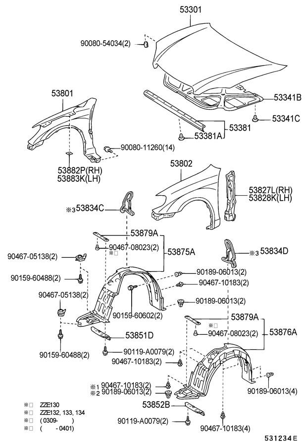 toyota corolla front bumper parts