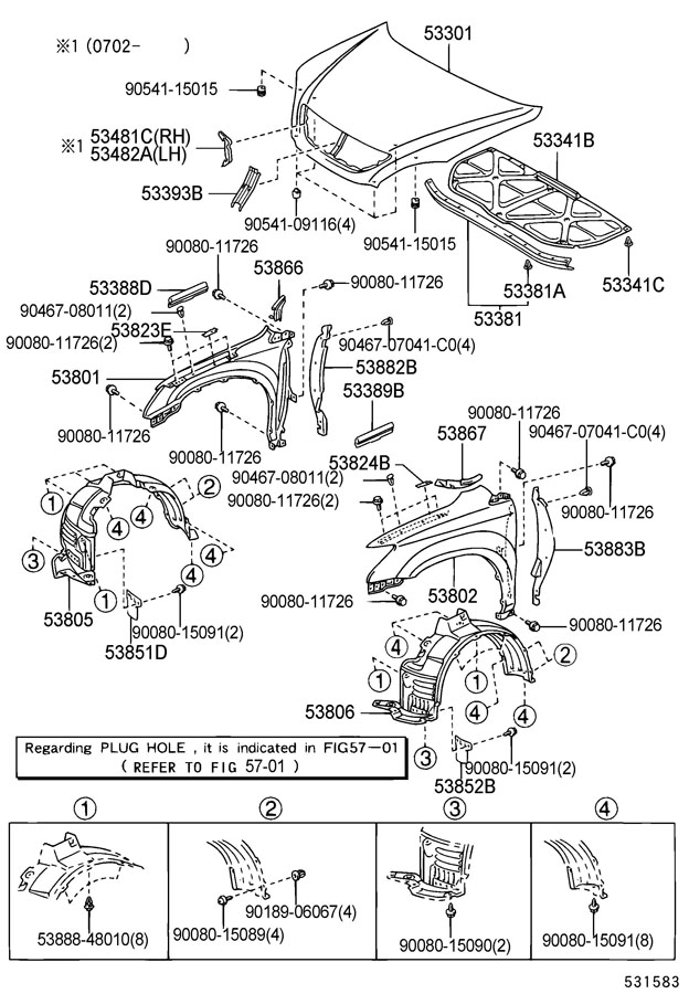 Diagram HOOD & FRONT FENDER for your 1991 TOYOTA 4RUNNER TRUCK, STANDARD 3000CC EFI, MANUAL , 5-SPEED