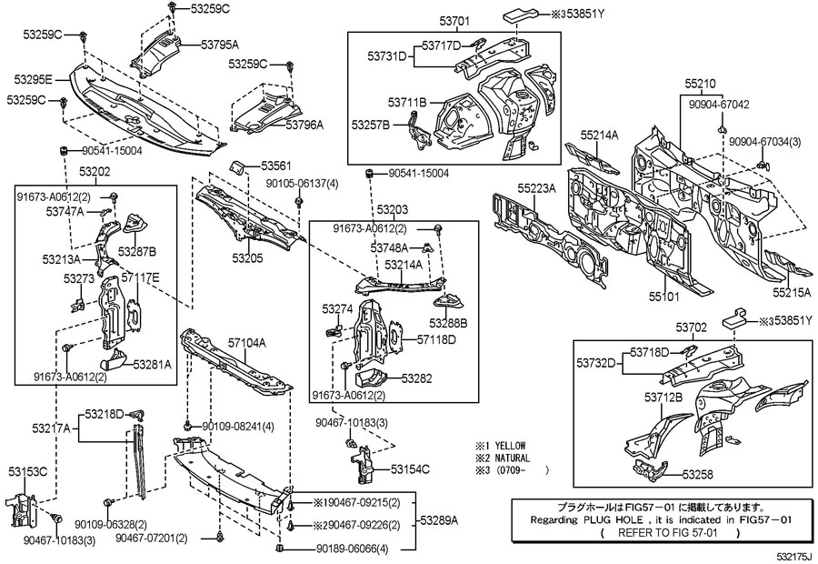 FRONT FENDER APRON & DASH PANEL Diagram