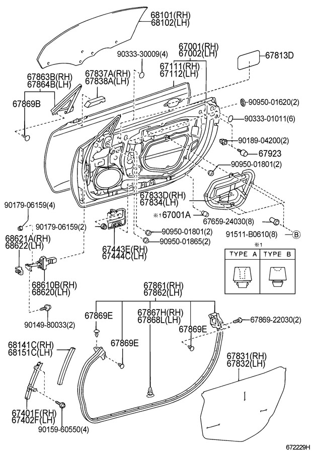 Diagram FRONT DOOR PANEL & GLASS for your 1991 TOYOTA 4RUNNER TRUCK, STANDARD 3000CC EFI, MANUAL , 5-SPEED