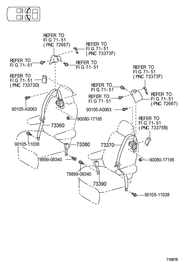 Toyota Sienna Seat Belt Receptacle  Rear   Lestd