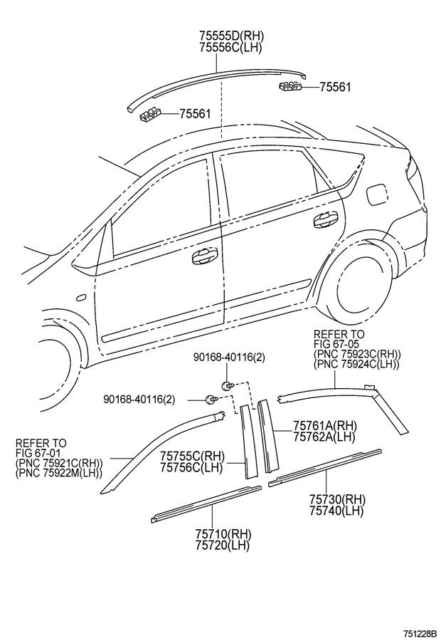 Toyota Prius Moulding  Rear Door Window Frame  Front Lh