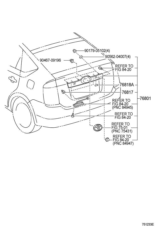 Toyota Prius Garnish Sub-assy  Back Door  Outside  Blue Mc   8m6
