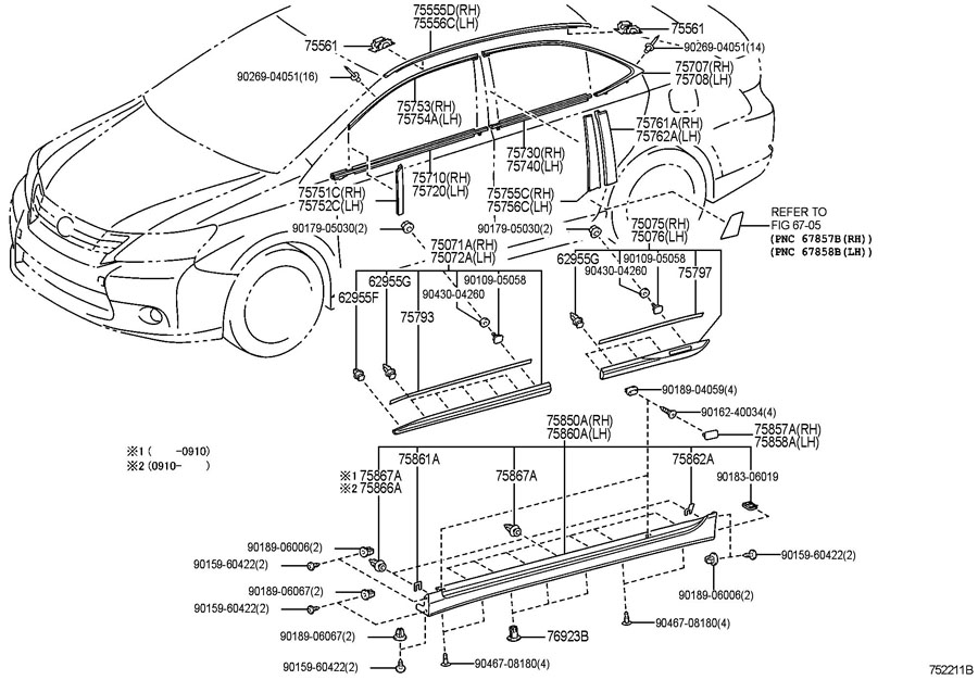 Diagram SIDE MOULDING for your 1991 TOYOTA 4RUNNER TRUCK, STANDARD 3000CC EFI, MANUAL , 5-SPEED