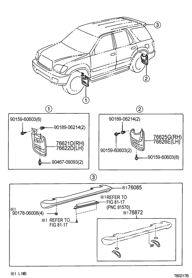 Diagram SPOILER & SIDE MUDGUARD for your 1991 TOYOTA 4RUNNER TRUCK, STANDARD 3000CC EFI, MANUAL , 5-SPEED