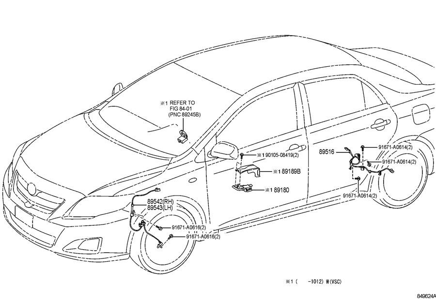Toyota Corolla Abs Wheel Speed Sensor  Left  Front