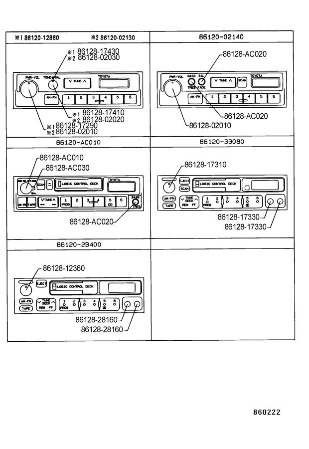 1997 TOYOTA COROLLA Knob, radio receiver. Pwr/vol. Knob ...