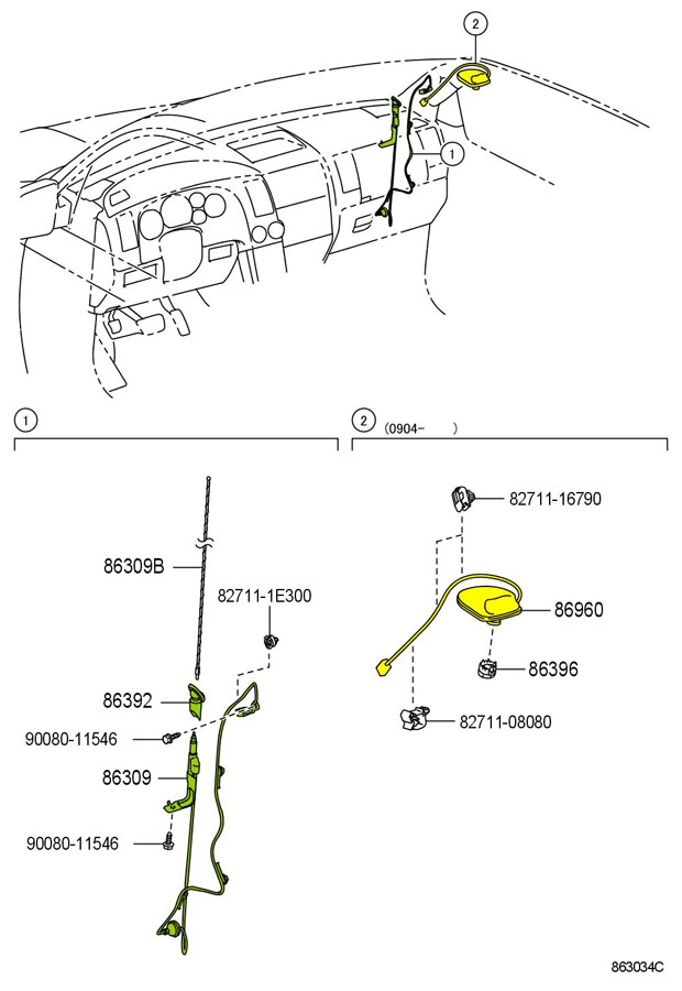 Replacement antenna for toyota tundra