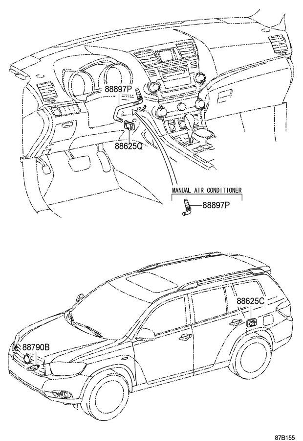 Toyota Highlander Cabin Air Temperature Sensor Aspirator