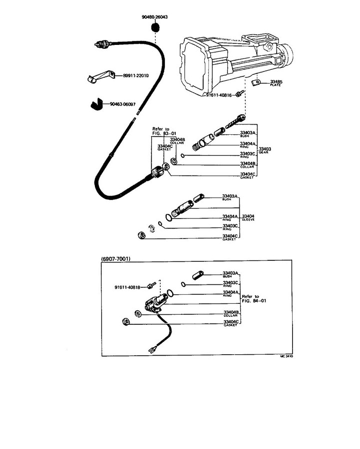 Diagram SPEEDOMETER DRIVEN GEAR (MTM) for your 1991 TOYOTA 4RUNNER TRUCK, STANDARD 3000CC EFI, MANUAL , 5-SPEED