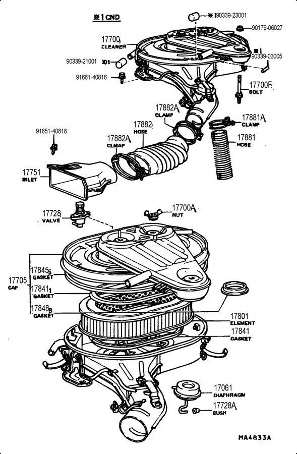 Toyota Land Cruiser Gasket  Air Cleaner To Carburetor