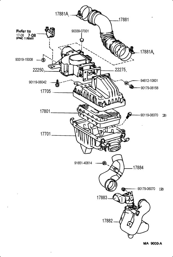 1988 TOYOTA COROLLA FX Q 1600CC DOHC EFI, MANUAL Air duct ...