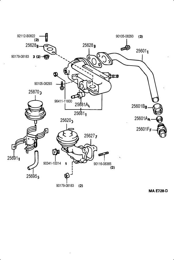 1994 Toyota Valve Assy  Egr Vacuum Modulator  Valve Assy