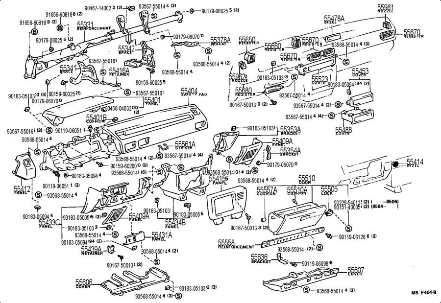 556701207003 toyota register assy  instrument panel  no 1994 toyota corolla dx engine