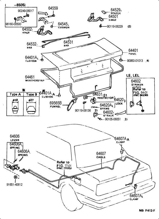 6453112160 toyota bar  luggage door hinge torsion  rh 1996 toyota corolla dx alternator