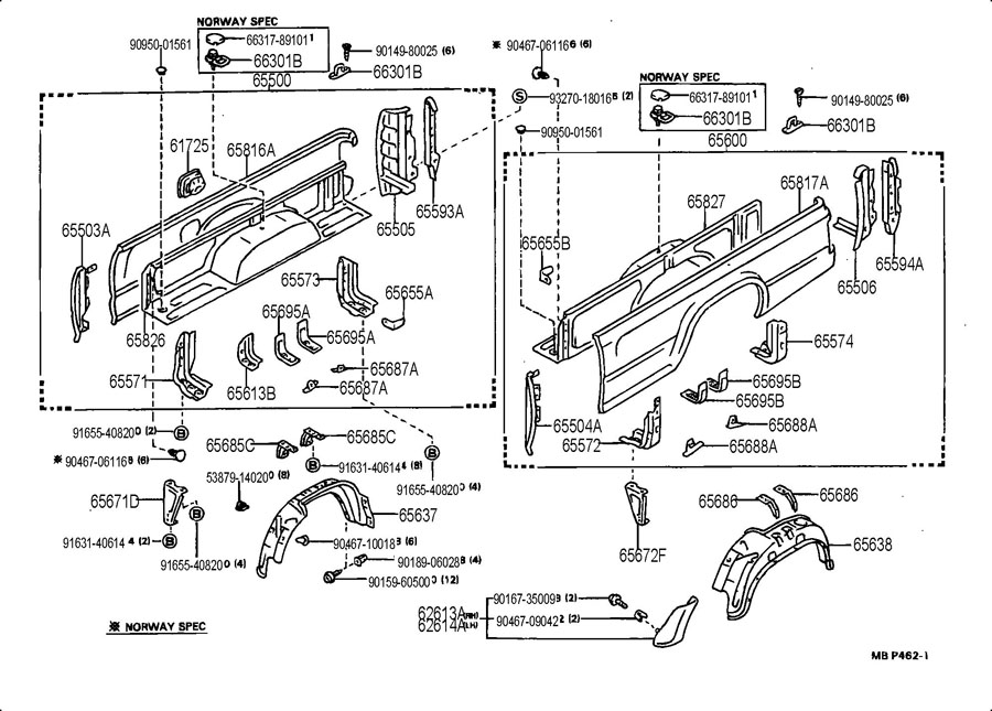 Diagram REAR BODY SIDE PANEL for your 1991 TOYOTA 4RUNNER TRUCK, STANDARD 3000CC EFI, MANUAL , 5-SPEED