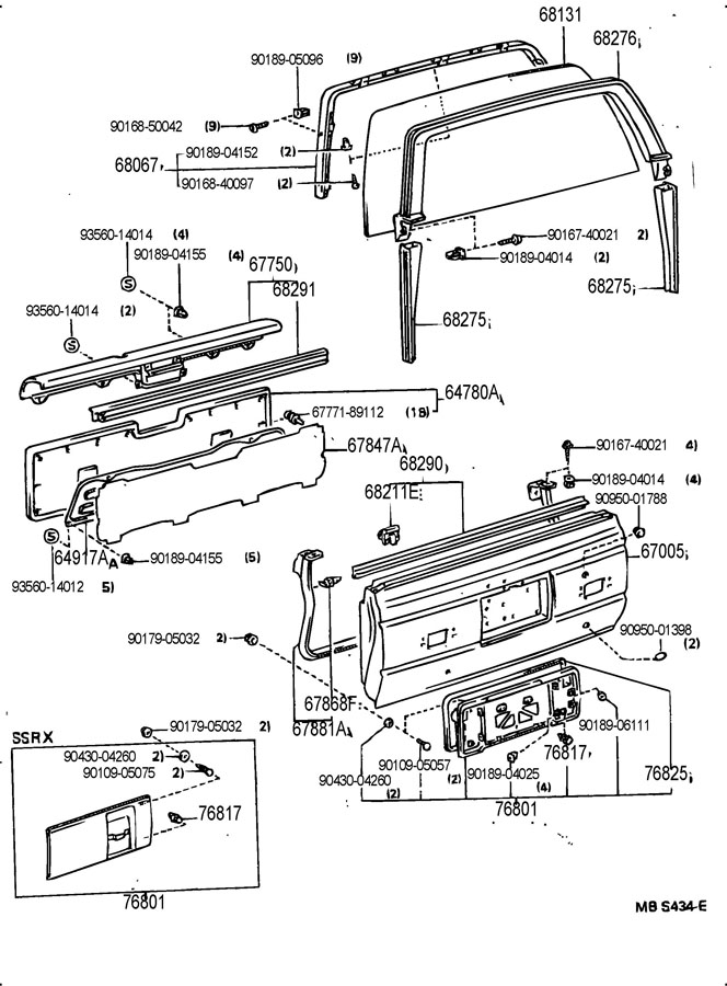 Diagram BACK DOOR PANEL & GLASS for your 1991 TOYOTA 4RUNNER TRUCK, STANDARD 3000CC EFI, MANUAL , 5-SPEED
