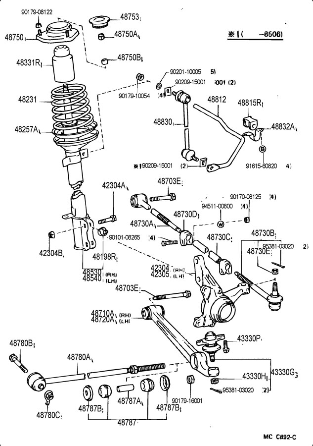 toyota matrix rear suspension diagram