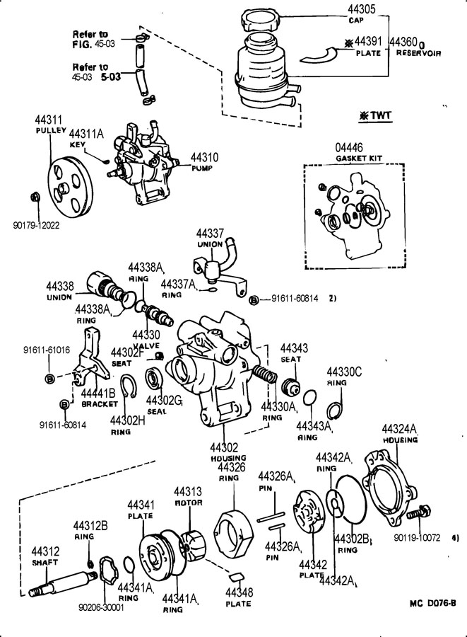toyota power steering pump location