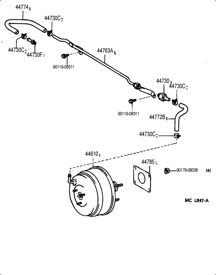 Toyota Camry Hose  Check Valve To Brake Booster