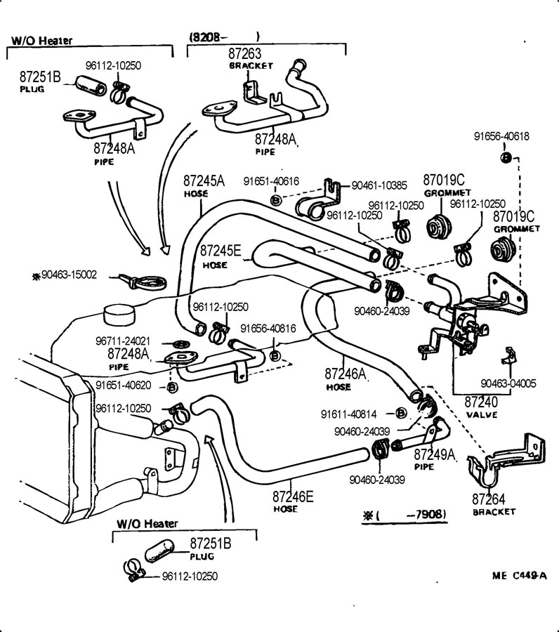 8724595115 - TOYOTA Hose, heater water, inlet a. L=650 ...