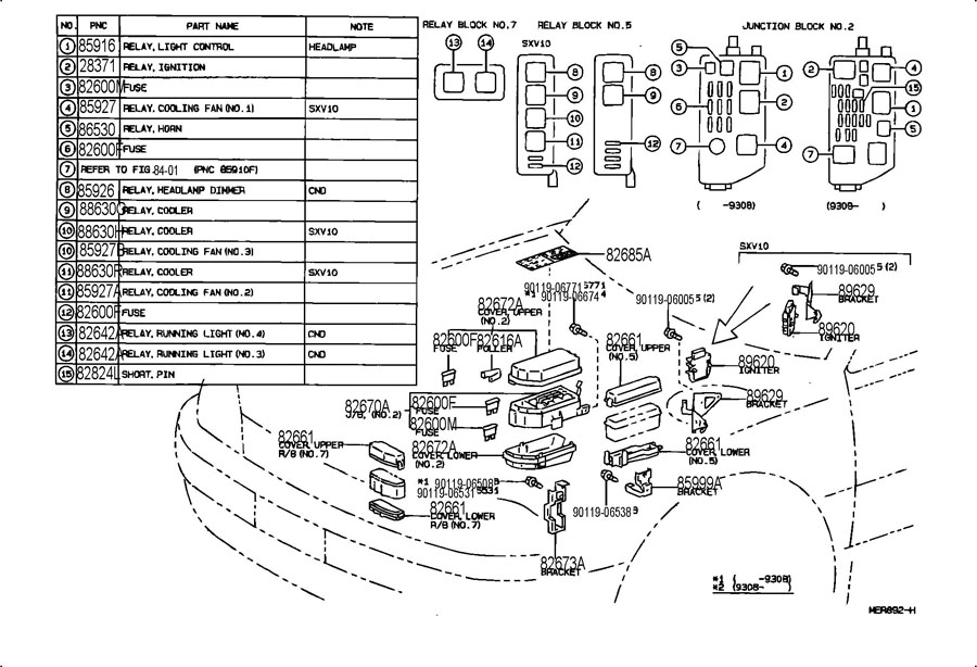 1999 Toyota Camry Power Window Relay Location